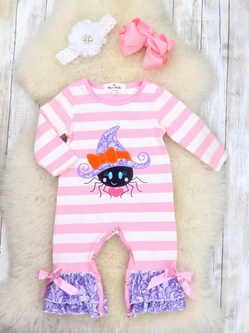 Pink / White Striped Spider Ruffle Romper