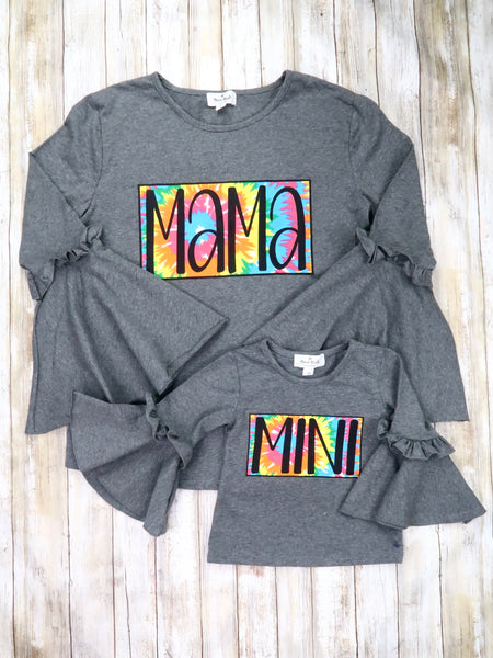 "Mom & Me ""Mama & Mini"" Gray Bell Sleeve Top"