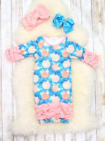 Blue / Coral Pomegranate Icing Ruffle Sleep Gown