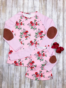 Mom & Me Pink Floral Striped Long Sleeve Shirt