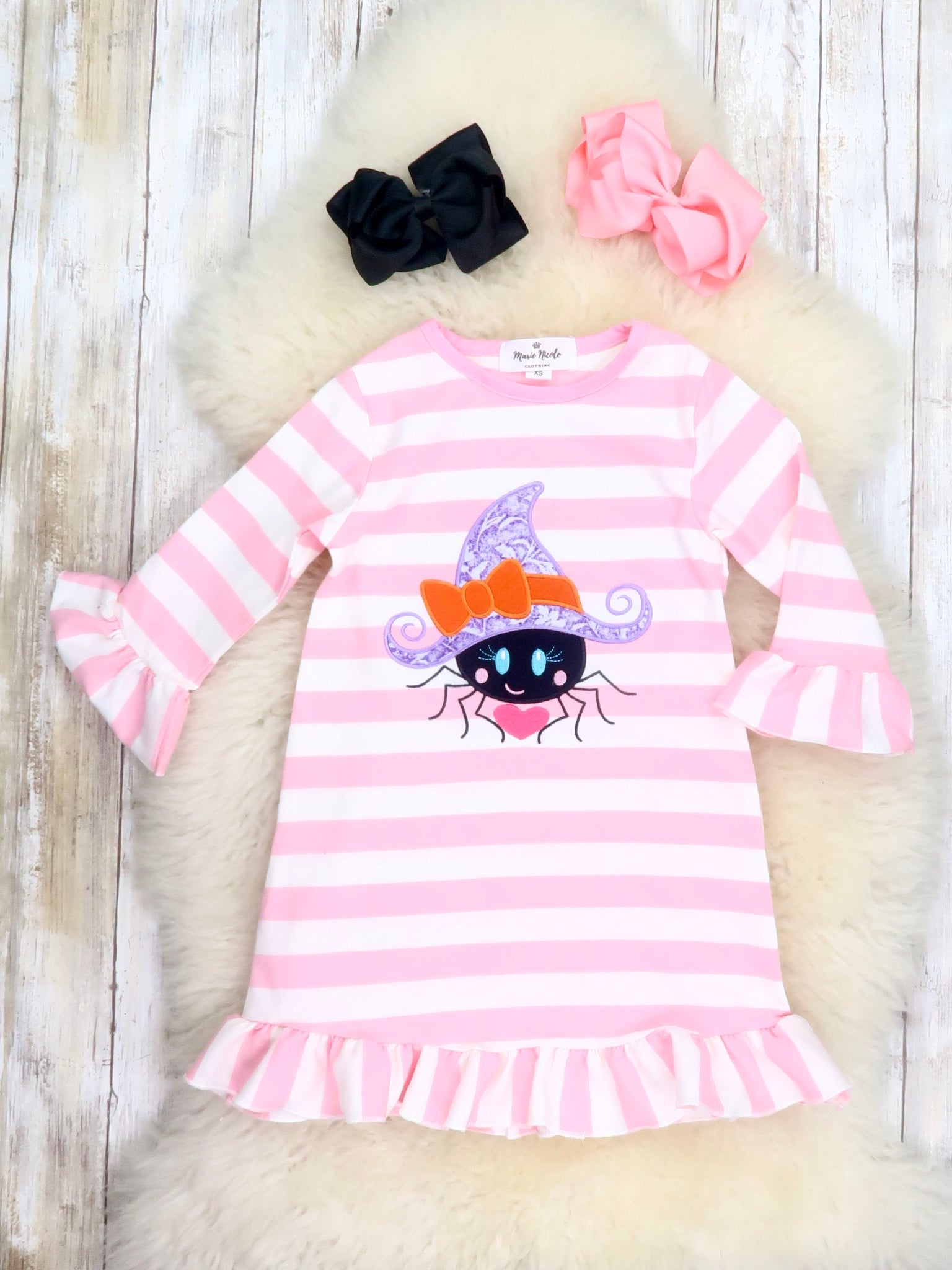 Pink / White Striped Spider Ruffle Dress