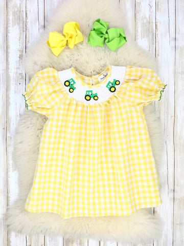 Yellow Gingham with Smocked Neckline & Tractor Embroidery Dress