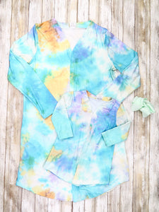 Mom & Me Mint / Yellow Tie-Dye Cardigan