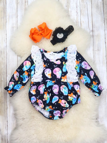 Colorful Ghost Ruffle Bubble Romper