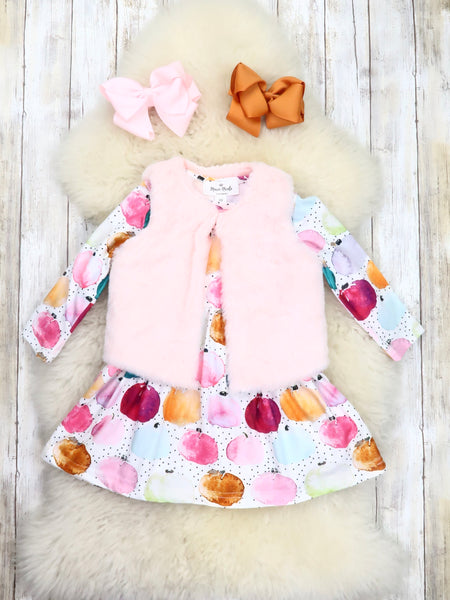 Colorful Pumpkin Ruffle Dress & Pink Furry Vest