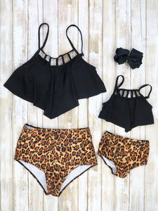 Mom & Me Black Ruffle Top and Leopard Bottom Swimsuit