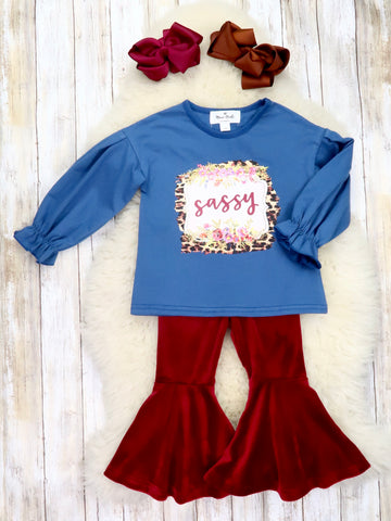 """Sassy"" Navy Ruffle Top & Burgundy Velvet Bell Bottoms Outfit"