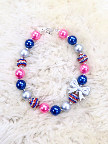 Pink / Blue Ribbon Bubblegum Pearl Necklace