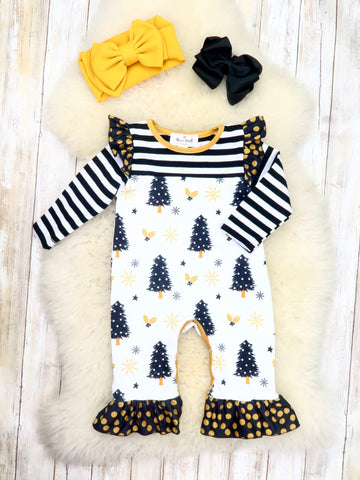 Black / White Striped Gold Christmas Tree Ruffle Romper
