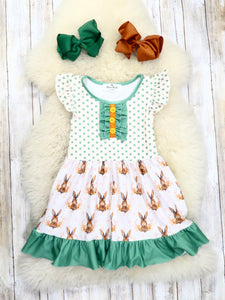 Green Polka Dot Bunny Ruffle Dress