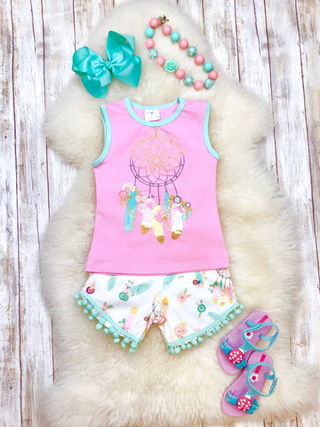 Dream Catcher Shirt & Pom Pom Shorts Outfit