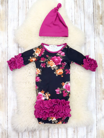Black / Purple Floral Sleep Gown & Hat