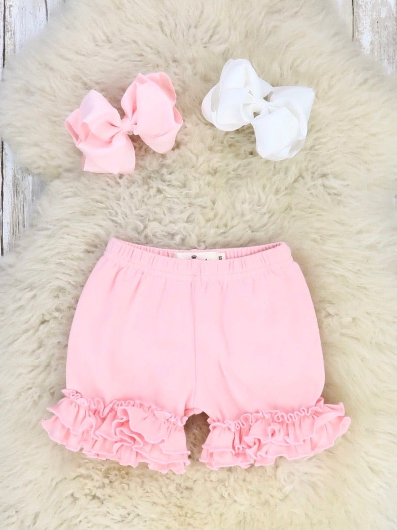 Cotton Ruffle Shorts - Light Pink