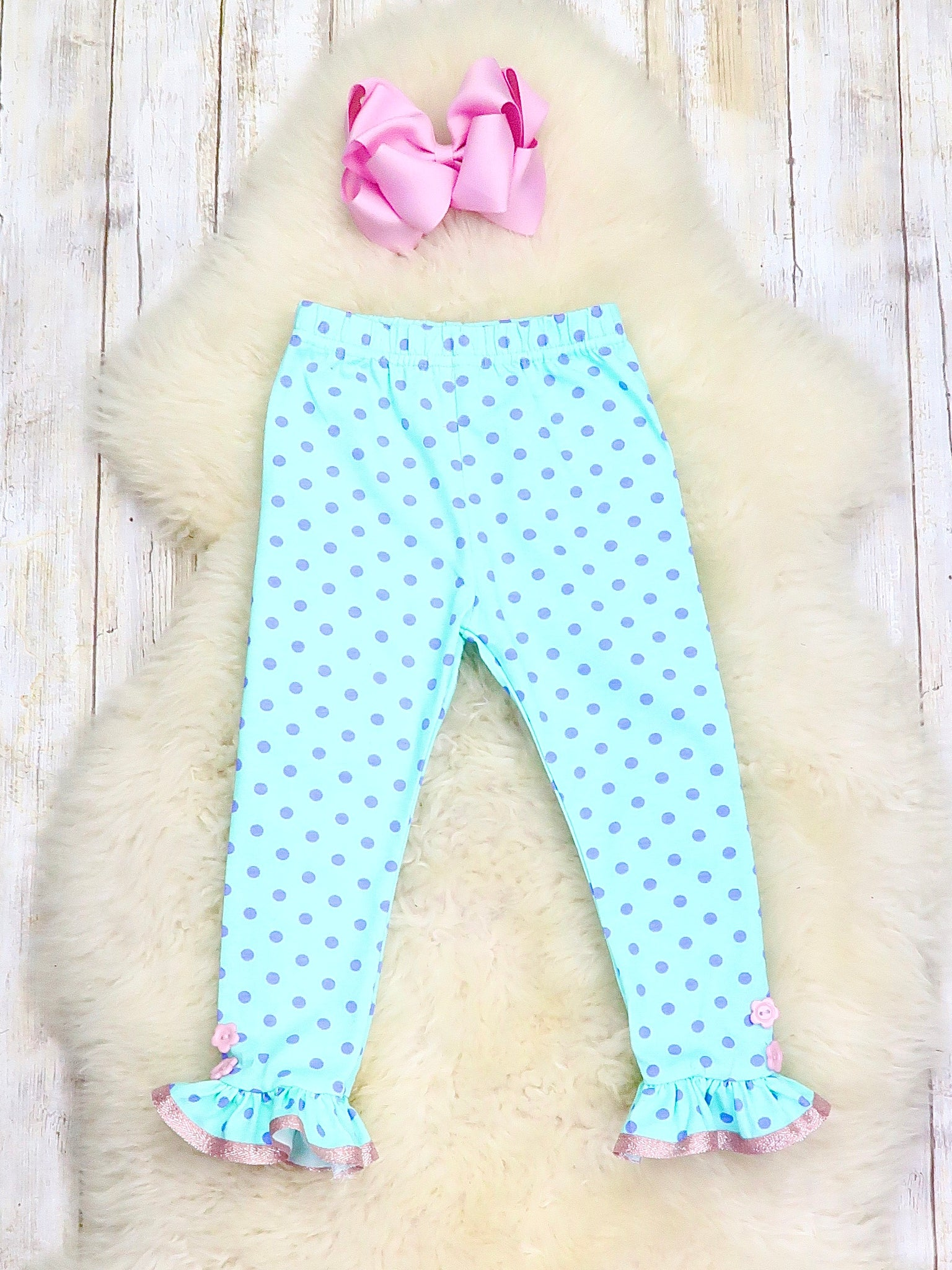 Mint & Purple Polka Dots Button Ruffle Pants