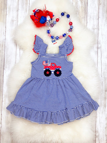 Monster Truck American Flag Ruffle Dress- Patriotic