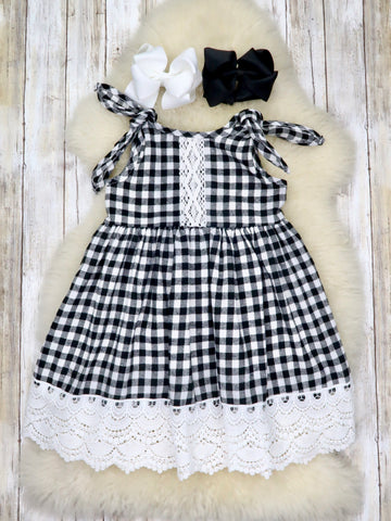 Black Checked Lace Tank Dress