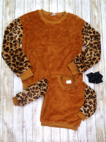 Mom & Me Leopard Sherpa Long Sleeve Shirt
