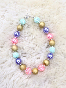 Pink / Gold / Teal Bubblegum Pearl Necklace