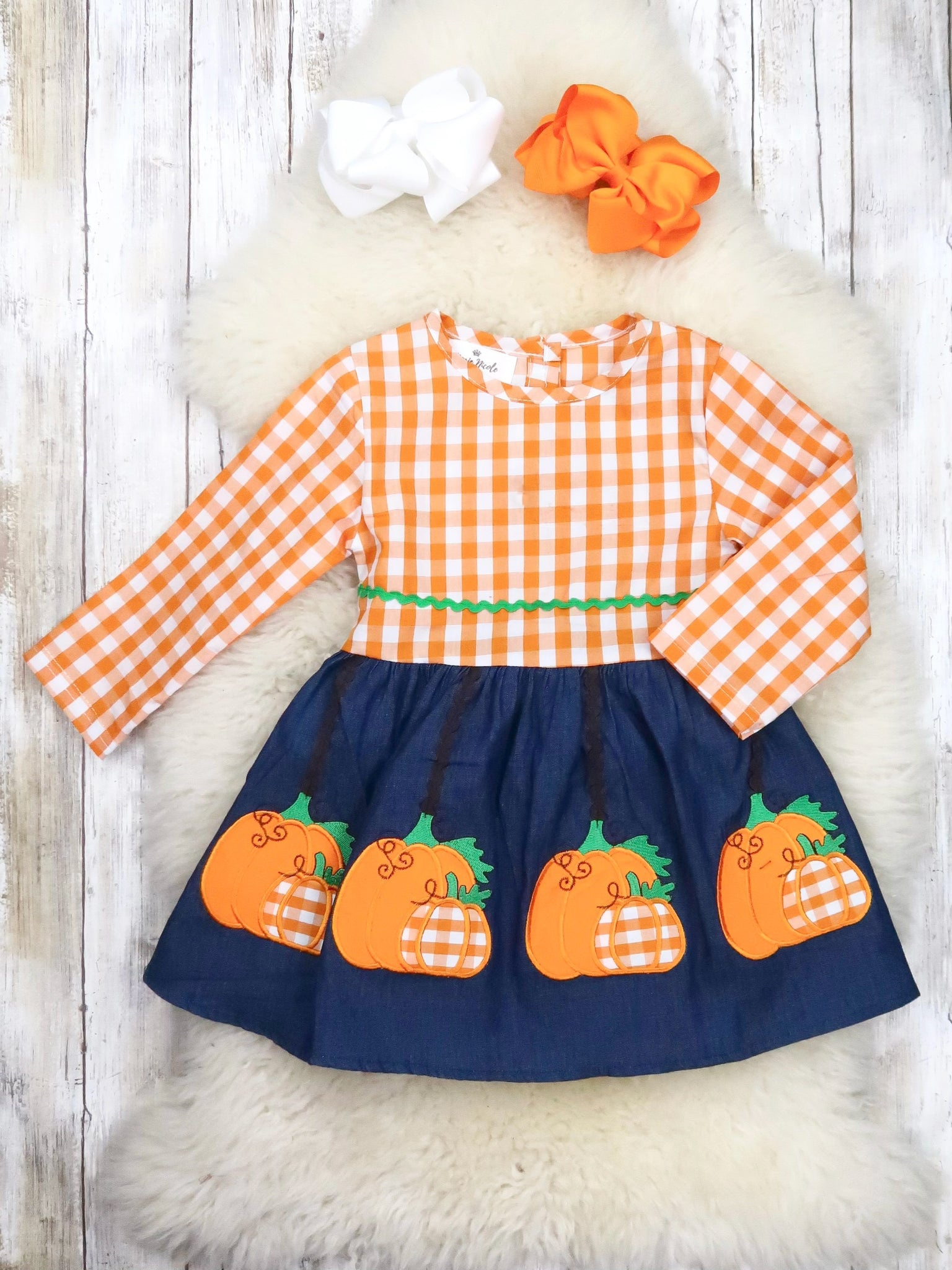 Orange Checkered Navy Pumpkin Dress