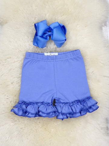 Cotton Ruffle Shorts - Cornflower Blue
