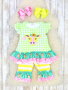 Lime Green Checked Cow Ruffle Capri Outfit