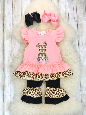 Pink / Leopard Bunny Ruffle Top and Black Bottom Outfit