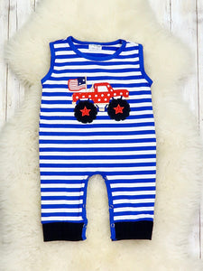 American Monster Truck Stiped Romper