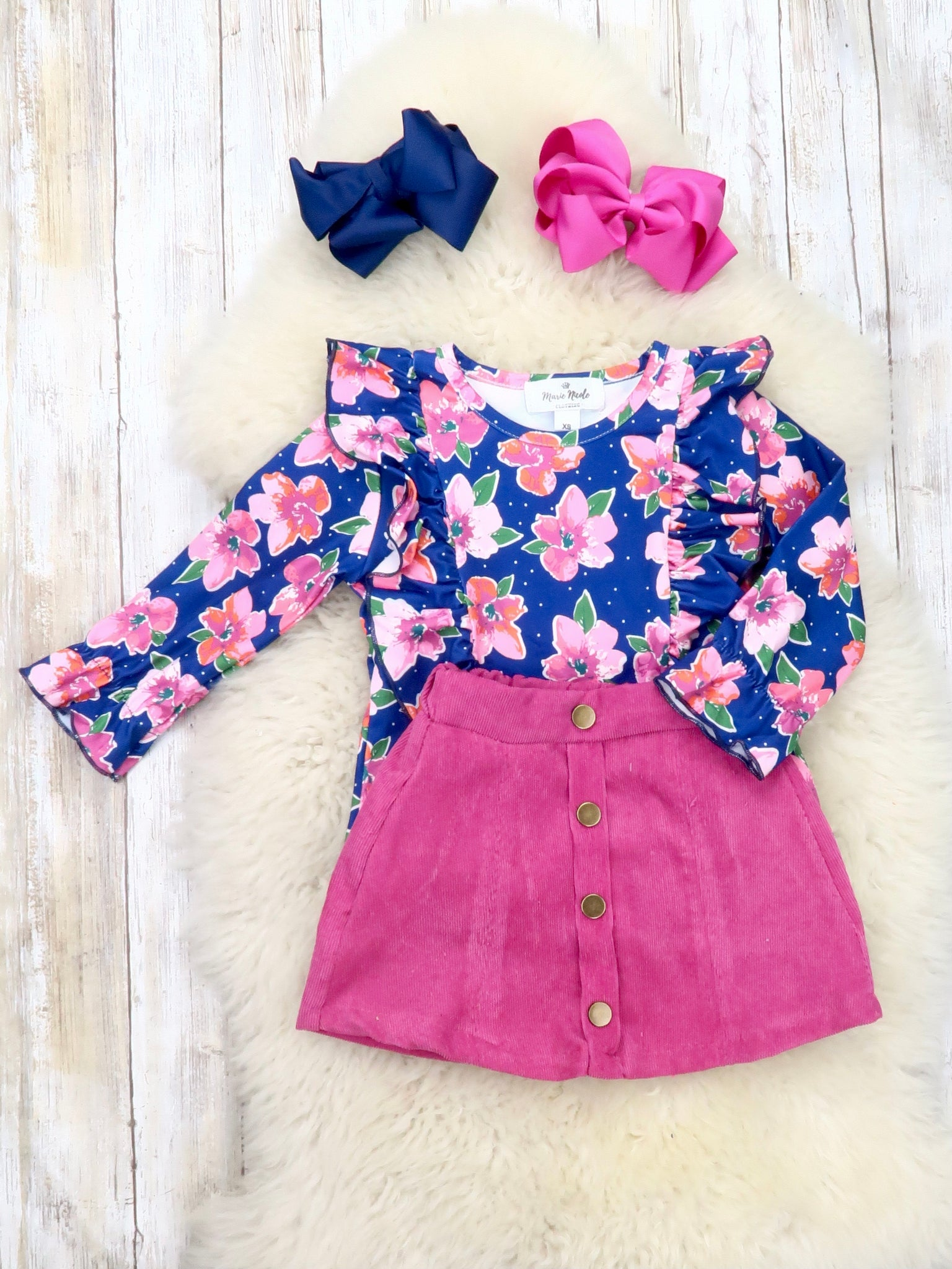 Navy Floral Ruffle Top & Magenta Button Skirt Outfit