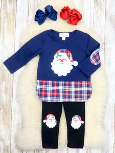 Navy / Red Plaid Santa Top & Black Pants Outfit