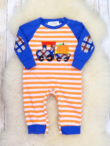 Orange / White Striped Blue Pumpkin Train Romper