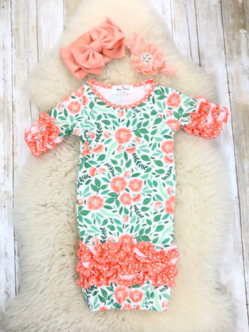 Coral / Green Floral Sleep Gown