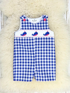 Blue Checked Narwhal Johnny Romper