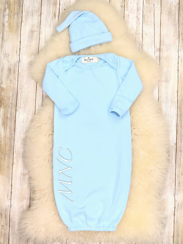Cotton Baby Gown With Hat - Blue