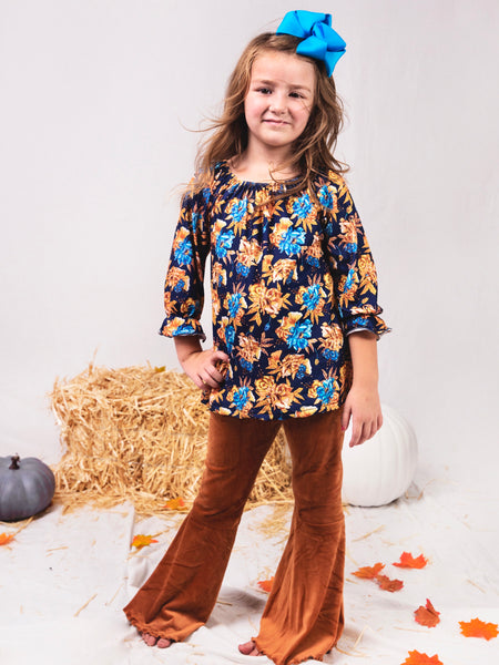 Navy Floral Top & Rust Velvet Bell Bottoms Outfit