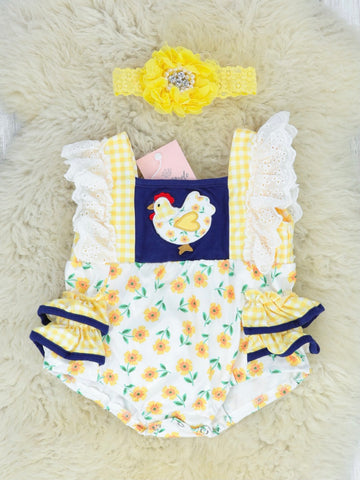 Yellow Floral Chicken Ruffle Bubble