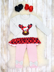Gray Reindeer Ruffle Top & Striped Bow Pants Outfit