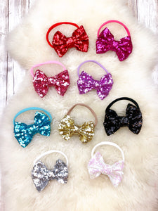 4 Inch Sequin Bow Headband - 9 Colors Available