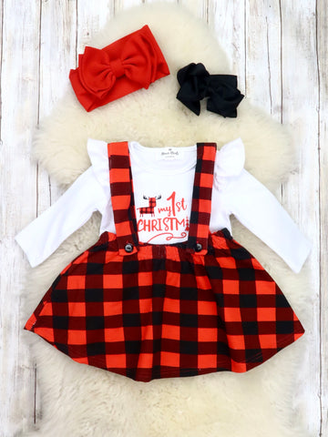 """My 1st Christmas"" Ruffle Romper & Suspender Skirt"