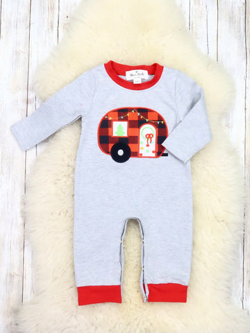 Gray Plaid Christmas Camper Romper
