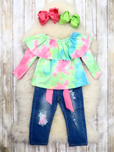 Pink / Green Tie-Dye Ruffle Top & Distressed Denim Outfit