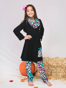 Rainbow Leopard Pumpkin Tunic Pants & Scarf Outfit