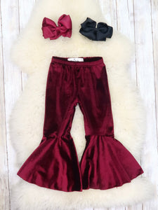 Mom & Me Velvet Bell Bottoms Pants- Burgundy