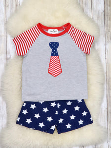 Patriotic Tie Shirt & Stars Shorts Outfit