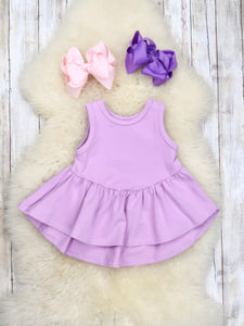 Cotton Hi-Lo Ruffle Tank Top - Lavender