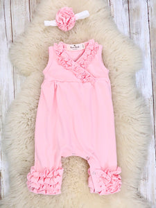 Cotton Icing Coming Home Short Sleeve Romper W/ Headband - Pink