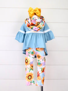 Steel Blue Hi-Lo Top, Sunflower Leggings & Scarf Outfit