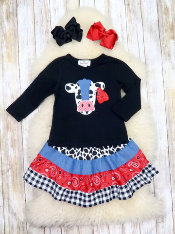 Black Cow Top & Paisley / Plaid Skirt Outfit