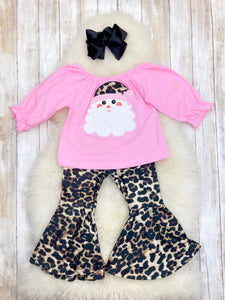 Pink Santa & Leopard Bell Bottom Outfit
