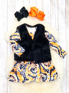 Black / Orange Tie-Dye Dress & Furry Vest