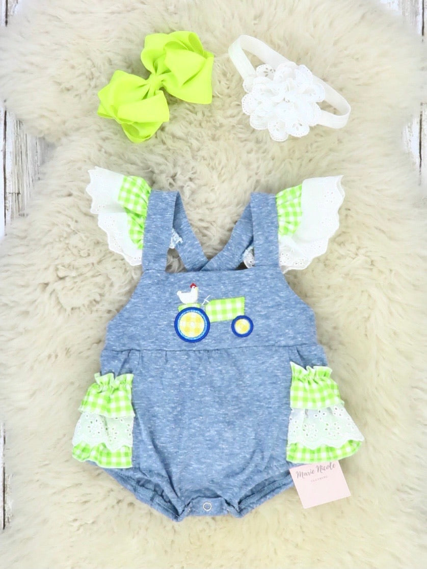 Heather Blue & Lime Green Chicken On a Tractor Flutter Sleeve Romper